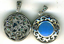 925 Sterling Silver Blue Turquoise & Marcasite Round Locket Reversible  Locket