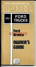 1981 FORD BRONCO OWNER'S GUIDE BRAND NEW UNUSED PART # E1TA-19A321-CC