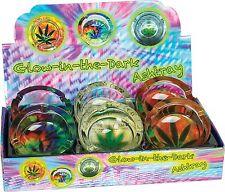 6 Glass Glow In The Dark Tie Dye Leaf Design Cigarette Ashtrays