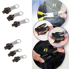 6Pcs 3 Sizes Broken Zip Fixers Clothes Bag Coffee Replace Zip Sliders Exotic