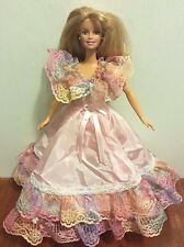 Mattel Barbie Doll Blonde in Pink and Lace Southern Belle Dress and Earrings EUC