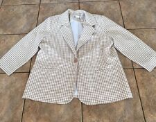 Plus Size Women's BFA Classics Gingham Checkered Plaid Blazer Brown White Sz 18