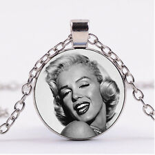 Photo Cabochon Silver charm Glass Necklace pendant(Marilyn Monroe)