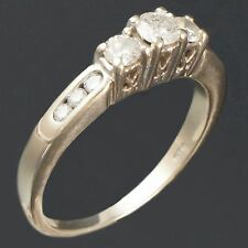 CLEARANCE! Solid 14K White Gold & Diamond, 3 Stone Wedding Engagement Ring, NR!