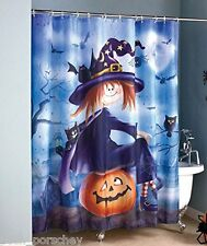 QUALITY POLYESTER GOTHIC TATTOO WITCH CAT BATS PUMPKIN SHOWER CURTAIN 180x180cm