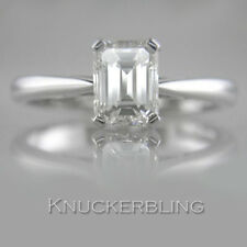 1.00ct Certified D Colour Flawless Emerald Cut Diamond Solitaire Platinum Ring