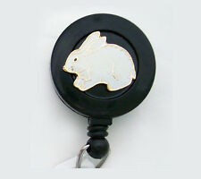 BUNNY RABBIT Retractable ID Card Holder / Badge Reel / Key Ring Chain Security