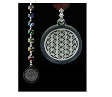 Fengshui flor de la vida chakras cadena cristal chakra con caja de regalo