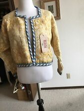 New NWT Oleana 100% Pure New Wool Gold Beige Blue Open Cardigan Sweater Size L
