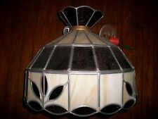 TIFFANY STYLE FLORAL COMPLETE STAINED GLASS HANGING SWAG LAMP WHITE GREEN AMBER