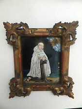 Fine 17th century holy limoges/ enamel portrait miniature of a monk, framed