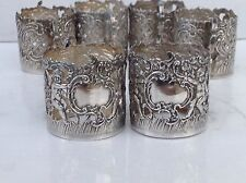 Excellent Set Of 6 Victorian Silver Glass Or Tot Holders, London And Hanau 1896