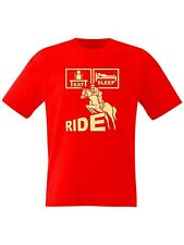 Kids Eat Sleep Ride Horse Riding T Shirt Jumps with Jodhpurs Saddle - Boys Girls