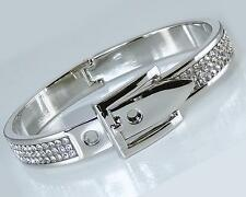 Italian Silver Buckle Crystal Bangle Bracelet Classic Hinged Designer