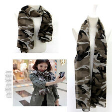 Gorgeous Lightweight Camouflage Camo Khaki Print Long Cotton Scarf