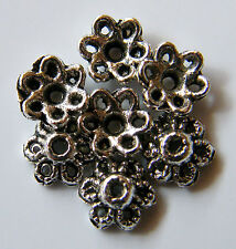 100pcs 6x2mm Metal Alloy Spacer Bead Caps - Antique Silver