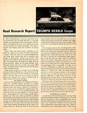 1960 TRIUMPH HERALD COUPE  ~  ORIGINAL 7-PAGE ROAD TEST / ARTICLE / AD