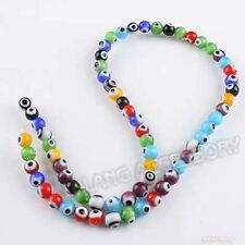 1Strand Mixed Assorted Evil Eye Lampwork Glass Smooth Round Beads Jewelry 6mm J