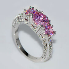 Pink Sapphire Three Stone Wedding Ring 10KT White Gold Filled Christmas Gift # 7