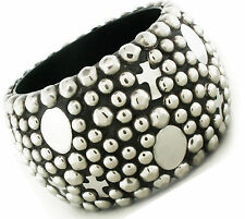 Womens Super Chunky Cross Rustic Silver Charm Stud Studded Wide Bangle Bracelet