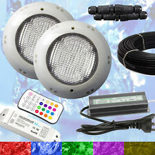 2 x Swimming Pool Spa LED Lights RGB +Controller +Power Supply + 10m Cable - NEW