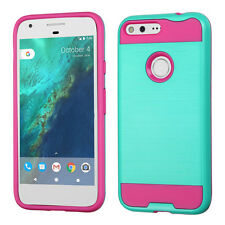 For Google Pixel & XL Brushed Metal HYBRID Rubber Case Phone Cover +Screen Guard