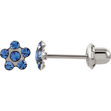 Surgical Stainless Steel Flower Accented Blue Crystal Piercing Earrings