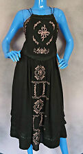 Free People Diamonds In The Sky Brown Embroidered Dress M 8 10 12 Boho Festival