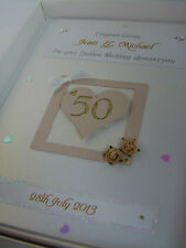 Personalised Golden 50th Wedding Anniversary Card, Swarovski crystals, boxed