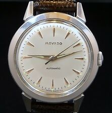 VINTAGE MEN STEEL 1950s MOVADO AUTOMATIC LUMINOUS DIAL WATCH SERVICE MOV. 7889