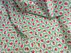 ROSE FLORAL100% COTTON POPLIN FABRIC SHABBY CHIC VINTAGE QUILTING GREEN & RED