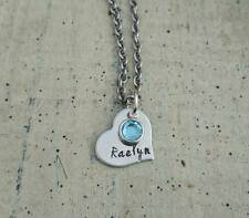 Hand Stamped charm Name Crystal Birthstone Pendant Chain Necklace Personalized
