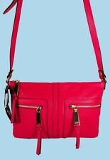 TOMMY HILFIGER T- Group Fuchsia Pebble Leather E/W Cross-Body Bag Msrp $98.00