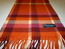 New 100% Cashmere Scarf Soft 72X12 Orange Off White Scotland Wool Check Plaid K6