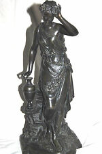 Lovely Antique French? Bronze Statue of Gorgeous Roman Greek Young Girl Unsigned