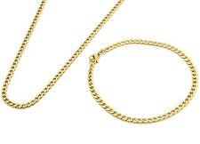 "14k Gold Plated Stainless Steel 4mm 24"" Hip Hop Chain & Bracelet Mens Cuban"
