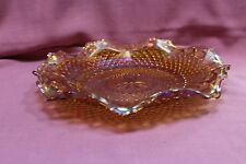 "Vintage Carnival Glass Shallow Bowl Plate 10"" Marigold/Amber Ruffled Edge Flower"
