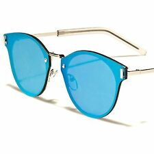 Celebrity Fashion Blue Mirrored Lens Mens Womens Vintage Style Round Sunglasses