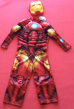 New Boys Marvel Iron Man 3 Costume Dress Up & mask light up muscles age 6/7 Book