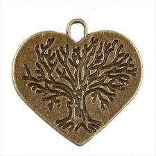 30x New Charms Ancient Bronze Love Heart Pendants Findings 140583