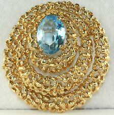 VINTAGE LARGE BLUE CRYSTAL PANETTA PIN / PENDANT FOR A NECKLACE