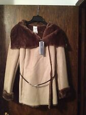 Womens Jennifer Lopez Faux Suede Shearling Fur Coat M Tan/Brown JLO Wrap Jacket
