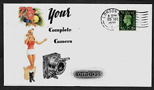 1937 Compass Camera Ad & Pin Up Girl Featured on Collector's Envelope *1038