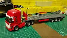 LEGO CITY CUSTOM RED HIGHLINE  TRUCK WITH TRI-AXL FLATBED TRAILER MK 4 L@@K