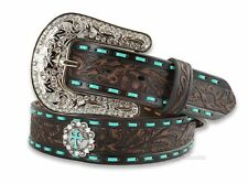 Nocona Belt Womens Western N3426002 NWT Tooled Leather Crosses Turquoise Cowgirl