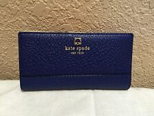 NWT Classic Authentic Kate Spade Southport Ave Stacy Leather Wallet Holiday Blue