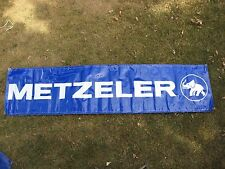 "BLUE & WHITE METZELER TIRE ADVERTISING BANNER SIGN ELEPHANT LOGO 7' 7"" x 22"""