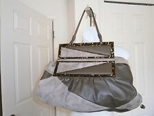 Fendi Made in Italy Taupe Brown Suede/Leather To You Convertible Clutch Handbag
