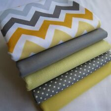Grey and yellow chevron plain pinstripe spots boy girl fabric bundle