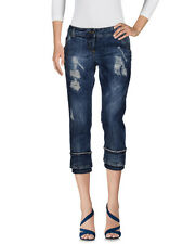 NEW Authentic Adele Fado Women Destroyed Ripped Jeans Trousers Capri Pants Italy